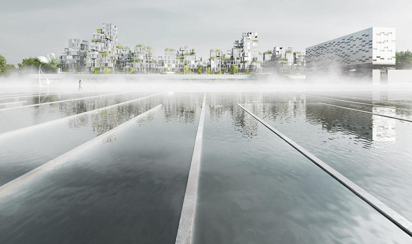 dans le cadre de Réinventer la Seine, ce projet conçu avec l'agence XTU en partenariat avec le groupe Pichet se trouve sur le site de l'usines des eaux d'Ivry sur seine créée par Dominique Perrault.